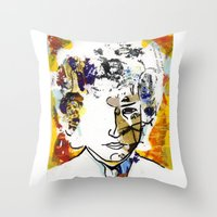 bob dylan Throw Pillows featuring bob dylan by Chris Shockley - shock schism