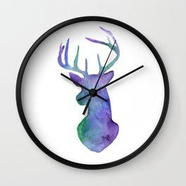 Watercolor Winter Deer Silhouette  Wall Clock