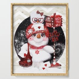 Santa Letter Delivery Snowman by Sheena Pike Serving Tray