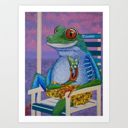 Tourist tree frog oil painting 10x12in on liner canvas panel   Art Print
