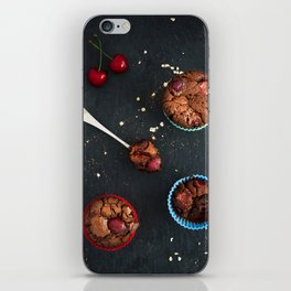 Cherry chocolate cupcakes iPhone Skin