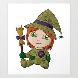 Little Witch Doll Art Print