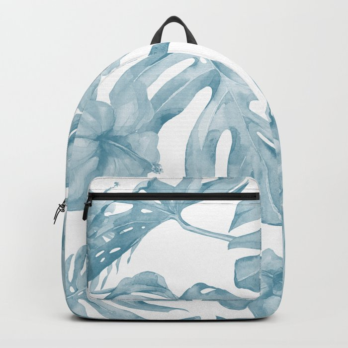 Gorgeous Blue Tropical Leaves + Flowers Backpack
