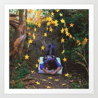 100 Golden Stars Art Print