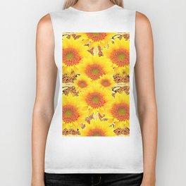 Yellow Caramel Sunflowers on Floral Patterns Biker Tank