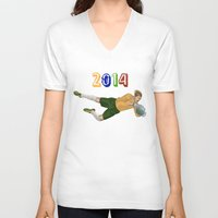 brazil V-neck T-shirts featuring Brazil 2014 by Lost Link Art