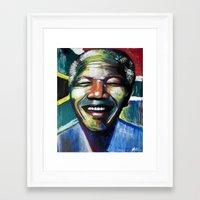 mandela Framed Art Prints featuring MANDELA by John McGlynn