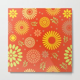 Yellow/orange seamless floral pattern Metal Print
