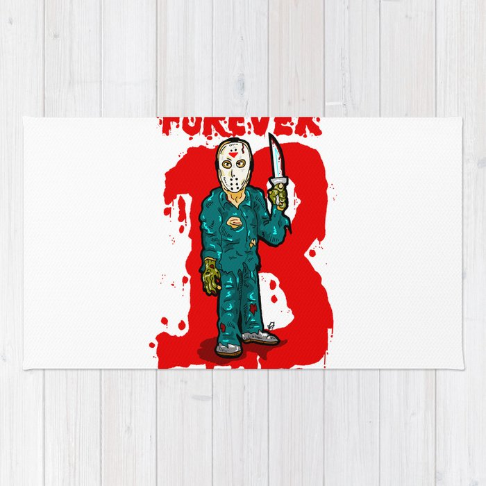 Jason Vorhees just won't stop...  EVER!  Friday the 13th is ETERNAL! Rug