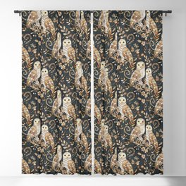 Wooden Wonderland Barn Owl Collage Blackout Curtain
