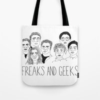 cactei Tote Bags featuring Freaks and Geeks by ☿ cactei ☿