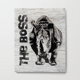 Rhino The Boss with wood background Metal Print
