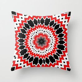 Bizarre Red Black and White Pattern Throw Pillow