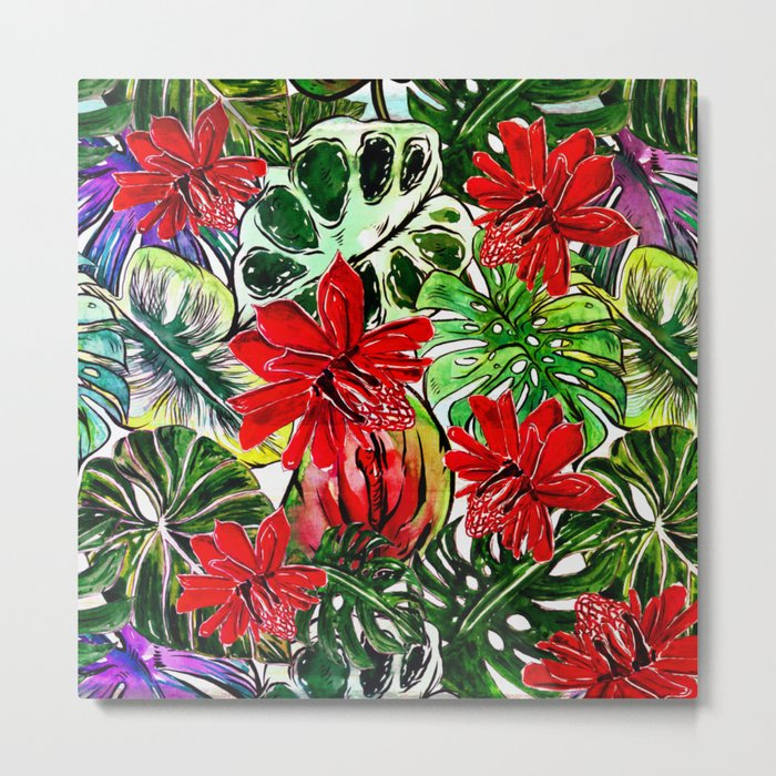 Exotic Passiflora Flowers Jungle Aloha Pattern Metal Print