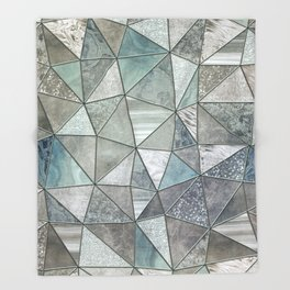 Teal And Grey Triangles Stained Glass Style Throw Blanket