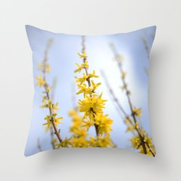 Yellow flowers reaching Throw Pillow