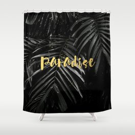 Paradise - gold on palm leaves Shower Curtain