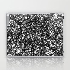 Angry Scribbles - Black and white, abstract, black ink scribbles pattern Laptop & iPad Skin