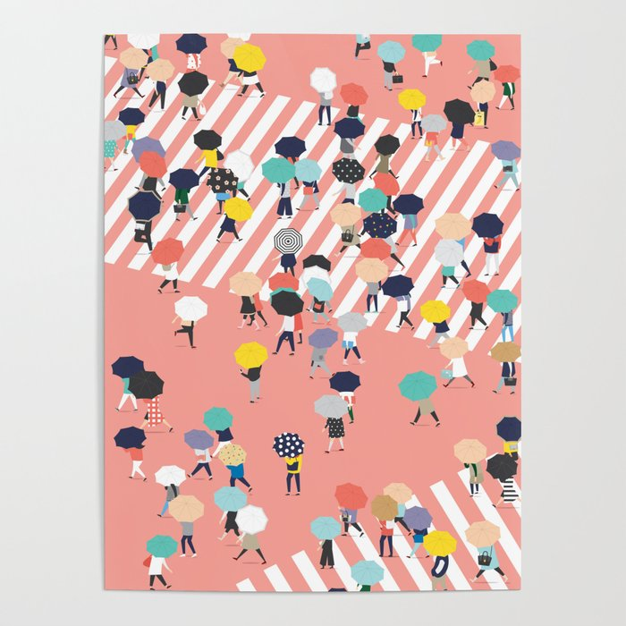 Crossing The Street On a Rainy Day Poster