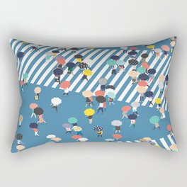 Crossing The Street On a Rainy Day - Blue Rectangular Pillow
