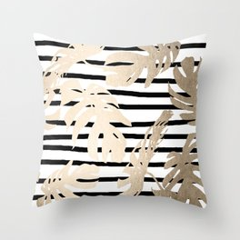Simply Tropical White Gold Sands Palm Leaves on Stripes Throw Pillow