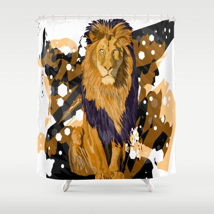 Lion Shower Curtain By Angelolarocca