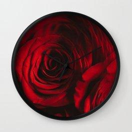 Crimson Roses Wall Clock