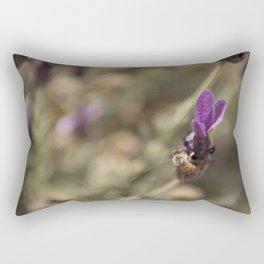 Bumble Bee on Purple Lavender Flower Floral Nature Fine Art Colored Wall Art Framed Lustre Print  Rectangular Pillow