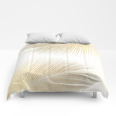 Palm leaf synchronicity - gold Comforters