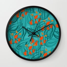 Pattern with red water flowers on turquoise green background Wall Clock