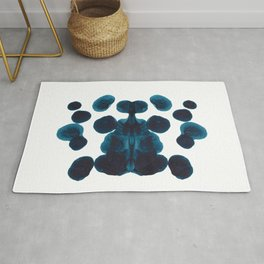 Dark Turquoise Blue Ink Blot Pattern Rug