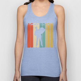 Retro 1970's Style Accordion Player Silhouette Music Unisex Tank Top