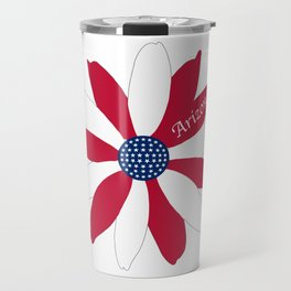 Red White and Blue 50 Star Arizona Flower Travel Mug