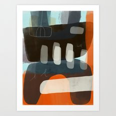 Brown Mono Form Stacked with Orange Angle Art Print