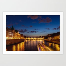 Illuminated Conciergerie at night - Paris, France Art Print