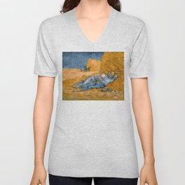 "Vincent van Gogh - Noon Rest From Work (A ""Copy"" of a Jean-François Millet Work) Unisex V-Neck"