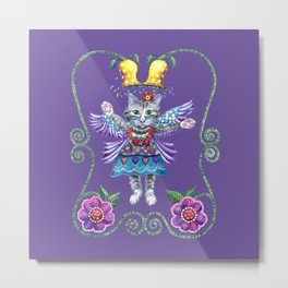 Angel Kitty (Purple) Metal Print