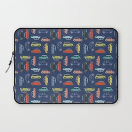 Colorful Mini Coopers on Blue Laptop Sleeve