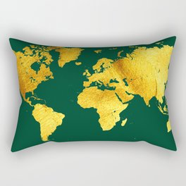 Forest Green and Gold Map of The World - World Map for your walls Rectangular Pillow