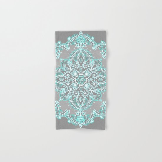 Teal and Aqua Lace Mandala on Grey Hand Bath Towel by Micklyn