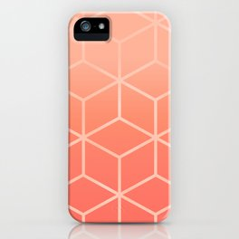 Living Coral Gradient - Geometric Cube Design iPhone Case
