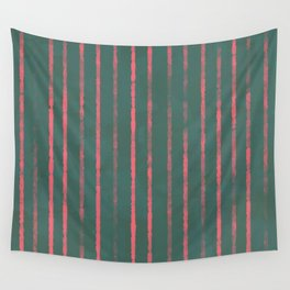 Modern Hand-painted Stripes in Bright Coral and Petroleum Green colors, Abstract Painting Wall Tapestry