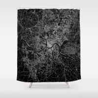 cincinnati Shower Curtains featuring Cincinnati map by Line Line Lines