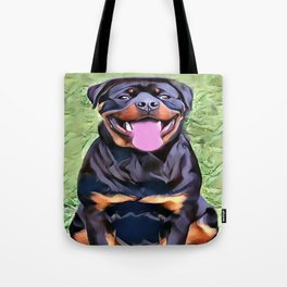 Happy Rottweiler Tote Bag
