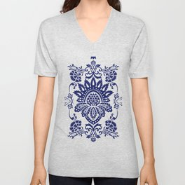 damask blue and white Unisex V-Neck
