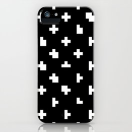 Black cris cross glitch iPhone Case