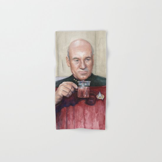 Tea. Earl Grey. Hot. Captain Picard Star Trek | Watercolor Hand & Bath Towel