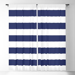 Navy Blue and White Stripes Blackout Curtain