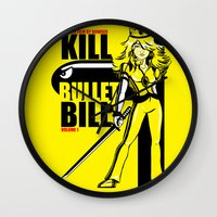 kill bill Wall Clocks featuring Kill Bullet Bill by Shana-Lee