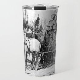 Horses pulling sledge loaded with logs Travel Mug
